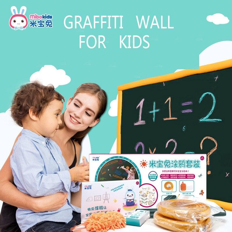 Grande taille mur Stricker papier peint tableau noir enfants dessin Graffiti papier pliable marqueur