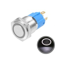 UXCELL Momentary Metal Push Button Switch 16mm Mounting Dia 3A 1NO 1NC 24/220V Yellow LED Light Flat Head Switch Accessories стоимость