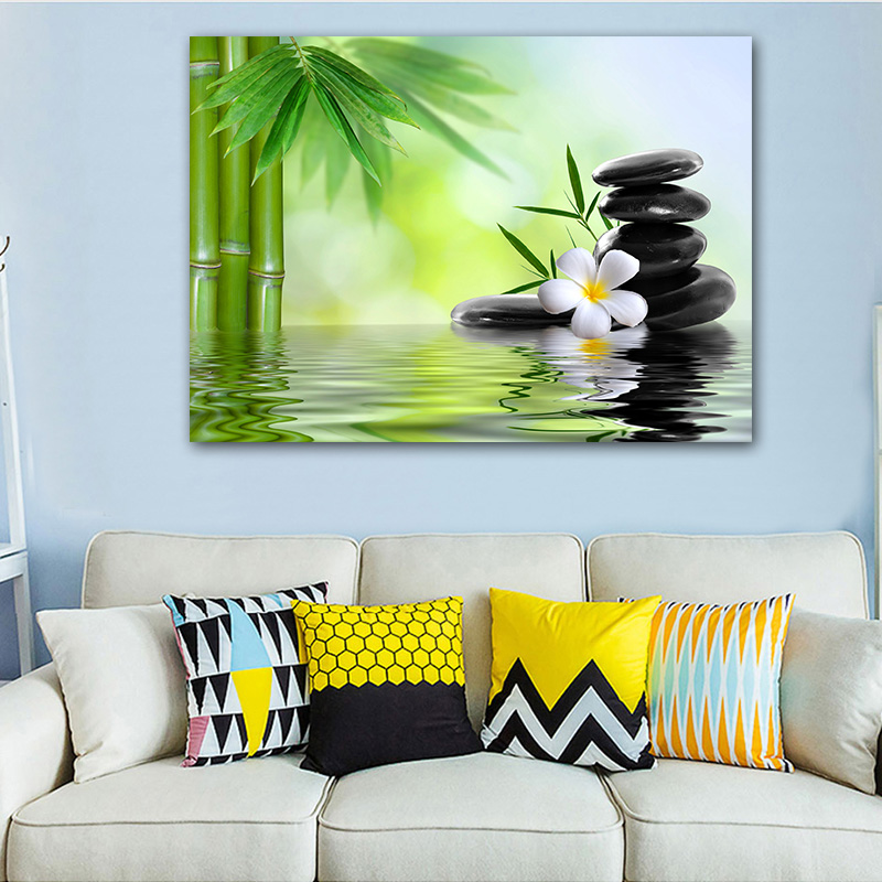 Goodecor Landscape Wall Art Home Decoration Pop Art Bamboo Black Stone Canvas Painting Wall Painting For Living Room Painting Calligraphy Aliexpress