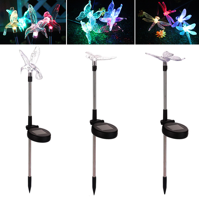 Dragonfly/Butterfly/Bird Solar Light Outdoor Lamp LED Garden Waterproof Light Solar Power Lawn LEd Party Christmas Decoration