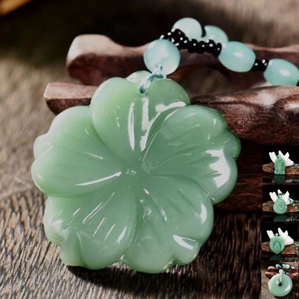 Handmade Natural Green Jade Lotus Pendant Necklace Fashion Lucky Charm