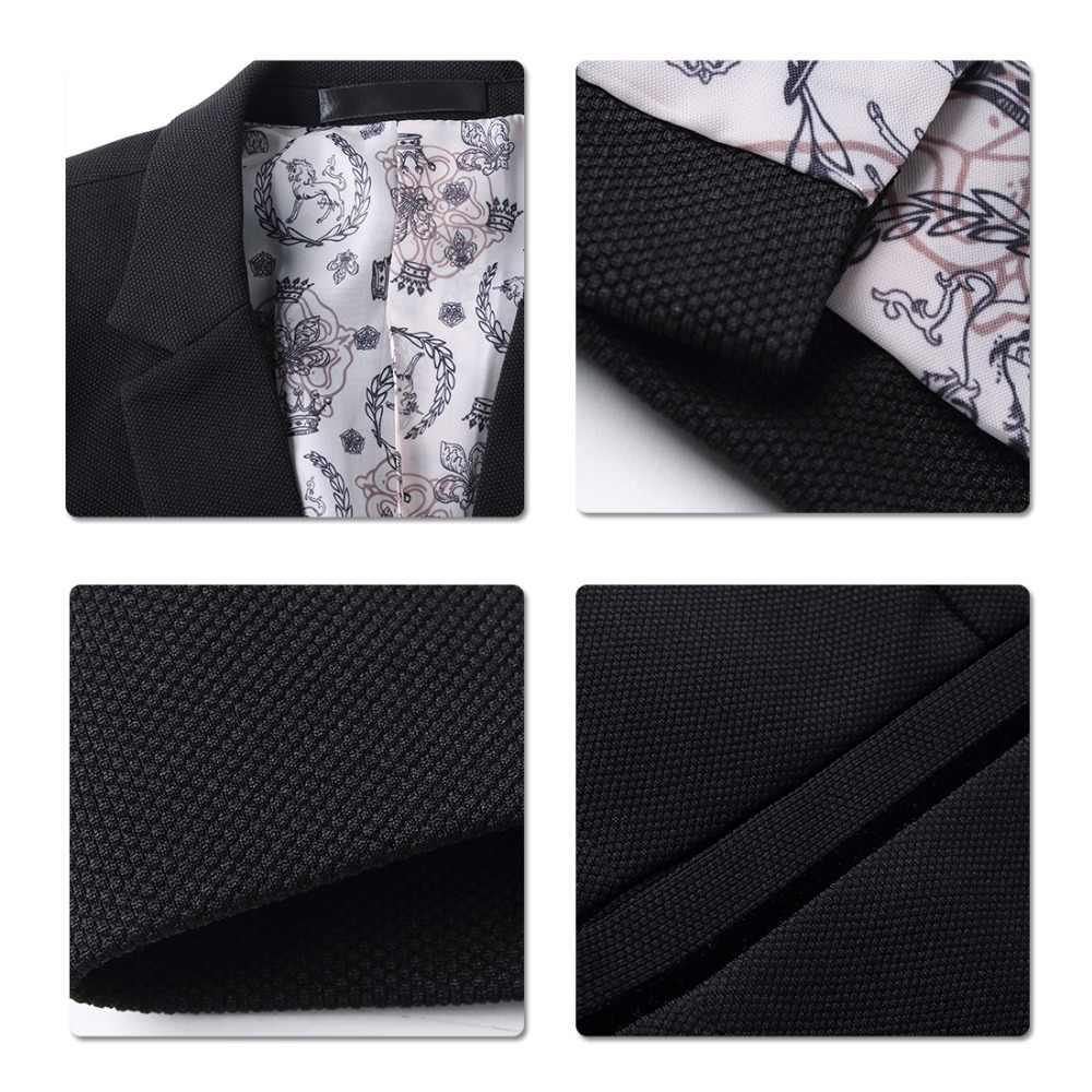 YUNCLOS 남성용 새로운 원 버튼 블레이저 캐주얼 슬림 피트 자켓 고품질 솔리드 컬러 비즈니스 남성 블레이저 자켓