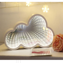 Creative LED 3D Night Light Cloud tunnel shape Lighting Childrens Room Bedside Lamp Kids Toy 3*AA Battery