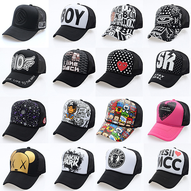 2019 New Fashion Cartoon Net Hat   Baseball     Caps   Wholesale Adjustable Fitted Hats Casual Letter Printing Wash   Cap   For Men Women