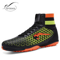 Aptesol Brand 2017 High Ankle Mens Kinds TF Football Shoes Training Soccer Boots Hard Wearing Soccer