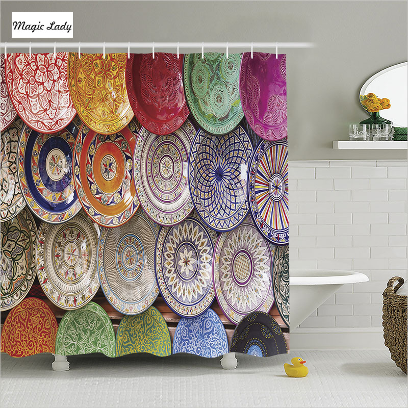 Shower Curtain Textile Bathroom Accessories Moroccan