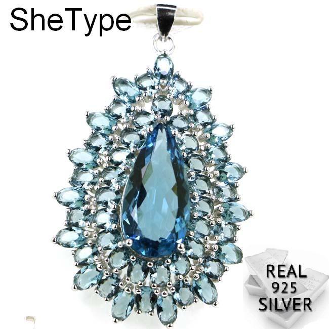 Luxury Big 7.5g Dark London Blue Topaz Woman's Wedding 925 Solid Sterling Silver Pendant 48x30mm
