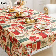 Urijk 1PC New Year Home Decoration Table Cloth Christmas Joyous Dining Table Covers Rectangle Printing Tablecloth Table Cover