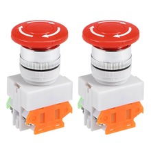 UXCELL 2pcs 22mm Switches Mounting Hole Latching Emergency Stop Push Button Switch Red 1NO 1NC control electromagnetic starter цена и фото
