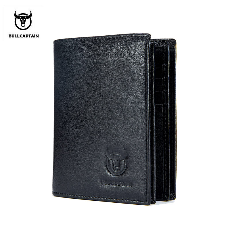 BULLCAPTAIN 2018 New Arrival Mens Wallet Cowhide Coin Purse Designer Brand Walle