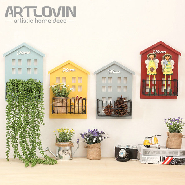 Creative Wall Mounted Hanging House Model Mini Craft For Home Garden Door Decoration Miniature Wooden