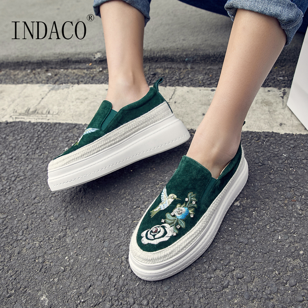 2019 Spring New Wedge Sneakers Women Genuine Leather Embroidery Platform Women Casual Shoes 6cm