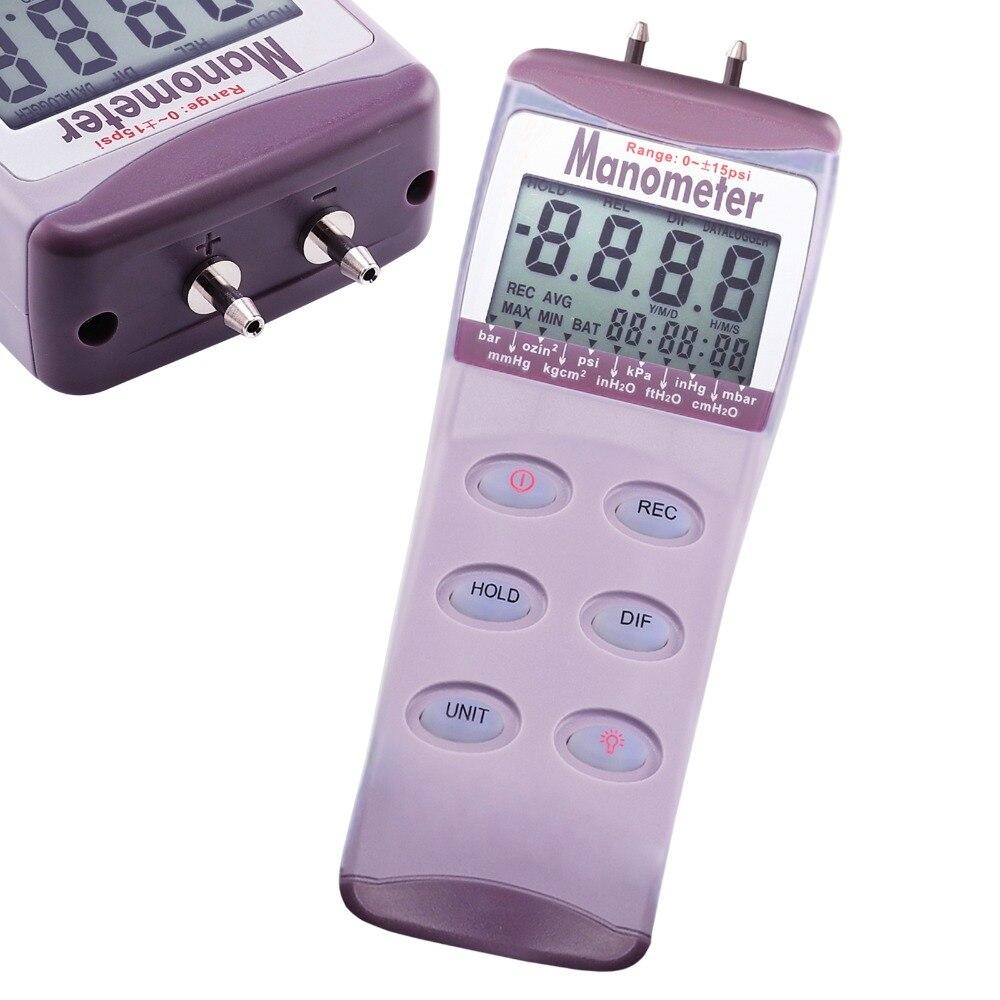 Digital Gauge & Differential Air Pressure Manometer psi kPa