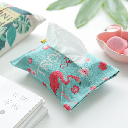 Radient Woonkamer Katoen Linnen Flamingo Tissue Doos Papieren Handdoek Zak Restaurant Hotel Auto Tissue Opbergdoos Home Decor Accessoires Dingen Geschikt Maken Voor De Mensen