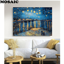 Starry Night on the Rhone River by Vincent Van Gogh Picture,5d diamond painting full drill square,Cross Stitch Mosaic Embroidery full diamond embroidery world famous the church at auvers by vincent van gogh 50cm 40cm diy diamond painting