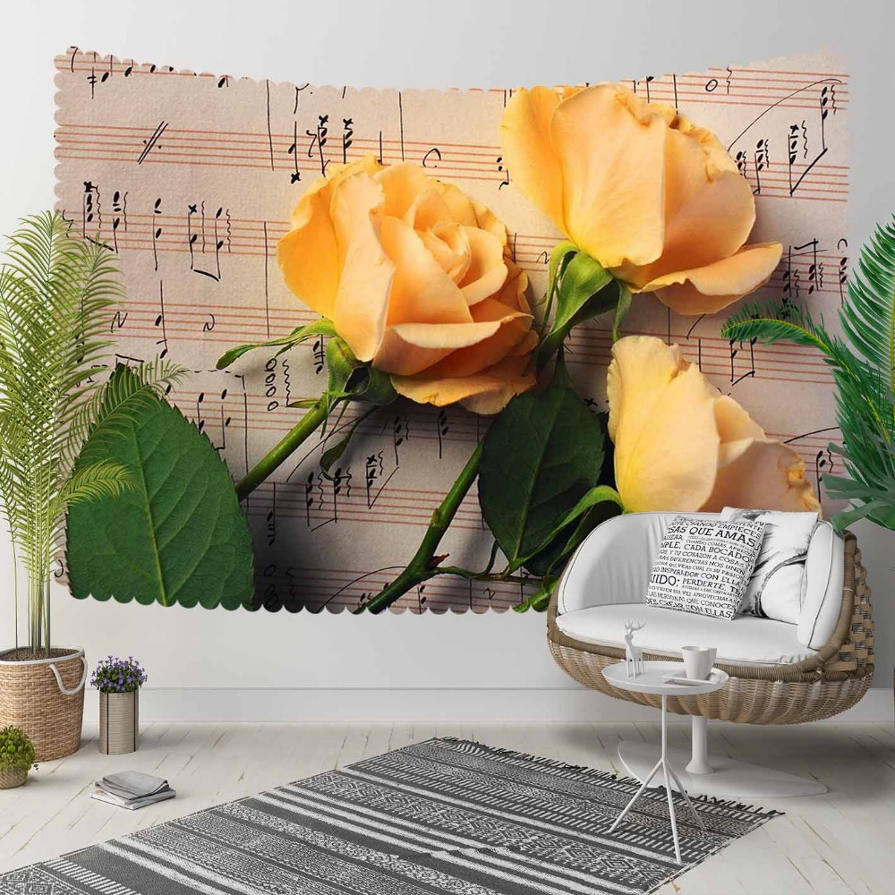 Else Brown Music Notes Yellow Roses Flowers Floral 3D Print Decorative Hippi Bohemian Wall Hanging Landscape Tapestry Wall Art