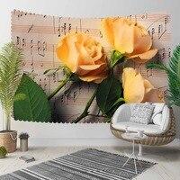 Indziej brązowy nuty żółte róże kwiaty Floral 3D druku dekoracyjne Hippi czeski ścianie wisi krajobrazu gobelin ściany sztuki w Dekoracyjne gobeliny od Dom i ogród na