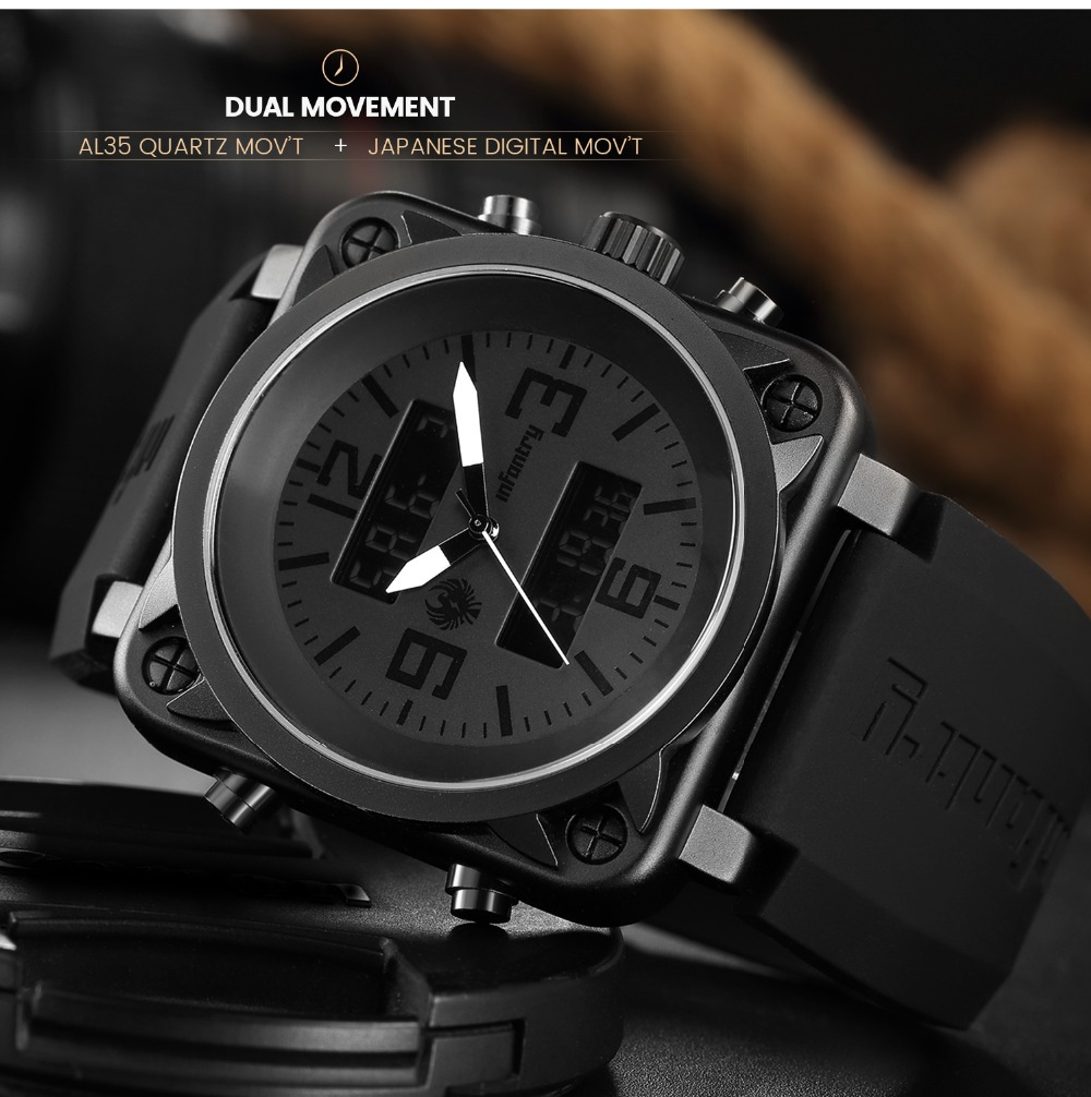Мужские часы от ведущего бренда, Роскошные военные часы, мужские аналоговые цифровые часы для мужчин, армейские квадратные большие черные часы Relogio Masc