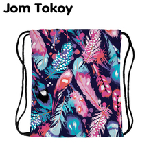 цена на JomTokoy Fashion Women Backpack Colored feather Printing Travel Softback Women Mochila Drawstring backpacks