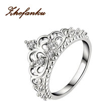 2017 Charming Jewelry Silver Color Royal Temperament Crown Ring US