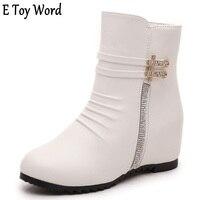 2016 Women Increase Short Boots Female Single Boots Flat Bottom Slope Heel Female Boots High Heel