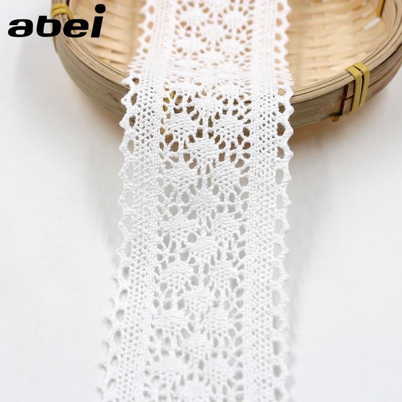 5yards/lot, 6cm Width, White Beige Black Cotton Lace Ribbon DIY Handmade LACE TRIMS Garment Accessories
