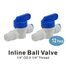 Water Filter Parts 1/4 Inch Male Thread to 1/4 Inch Pushfit Shut Off valve(6 PACK) bo 0075v 1 4 inch 1 2 3 4 1 1 5 2 inch venturi gas water mixer ozone mixing ozone water treatment parts
