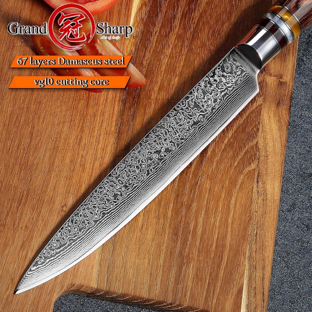 Damascus Kitchen Knives Slicing Carving Chef Knife Japanese vg10 Damascus Steel Salmon Ham Knife Sashimi Sushi Cake Tools Slicer