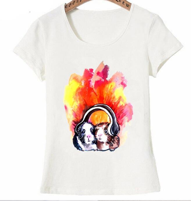 Nouveau t mode femmes t shirt cochons d inde couter de la musique imprim T Shirt