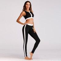 Women Sports Bra Leggings Set Black White Stitching Sport Suit Gym Yoga Sets 2 Pieces Fitness Women Gym Clothes YS031