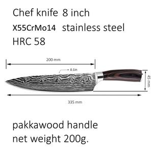 Image 5 - Кухонный нож шеф повара из высокоуглеродистой нержавеющей стали, дамасский лазер, 8 дюймов
