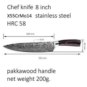 Image 5 - Couteaux de cuisine laser en acier damas, ustensile de Chef 8 pouces en acier inoxydable à haute teneur en carbone, outils de cuisine de boucher, ustensiles de cuisine, couteau cadeau