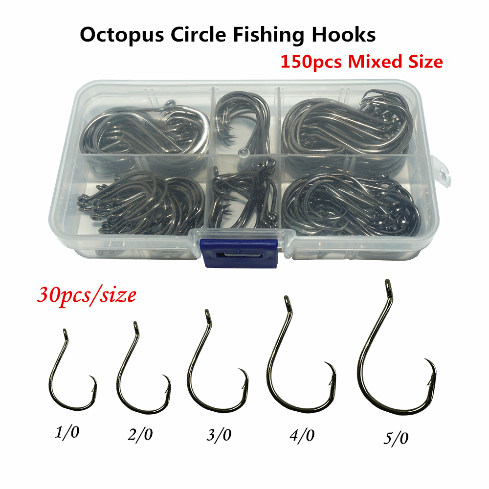 150pcs Circle Fishing Hooks Saltwater Fly Carp Offset Octopus Single Bait Jig Worm Assist Barbed Fishhook Pesca Assorted