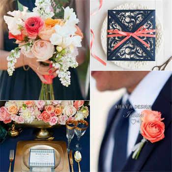 Gorgeous Navy สีฟ้าเลเซอร์ตัดการ์ดเชิญงานแต่งงานกับ Coral ริบบิ้น