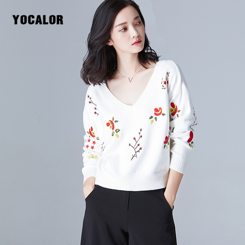 V Neck Sweater Women Pullover Embroidery Knitting Blouse Winter Long Sleeve Tops Ladies Christmas Sweater Autumn Soft Warm