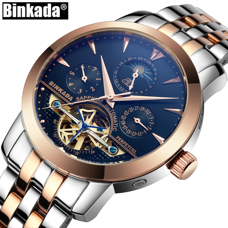 BINKADA Skeleton Tourbillon Automatic Watches Relogio Self Wind Luxury Full Steel Business Mens Mechanical Watch 2017 men watches skeleton hollow fashion tourbillon mechanical hand wind mens lige luxury business all steel strap wrist watch