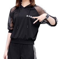1 Set New Loose Women Two Piece Set Long Sleeve Top Sets Mesh Sleeves Hooded Loose