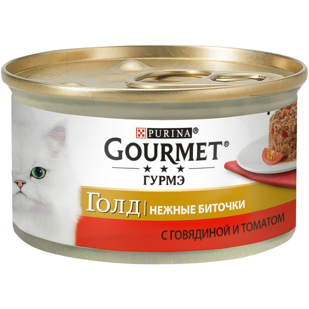 Wet food Gourmet Gold Gentle Beats for cats with beef and tomatoes, bank, 12x85 g.