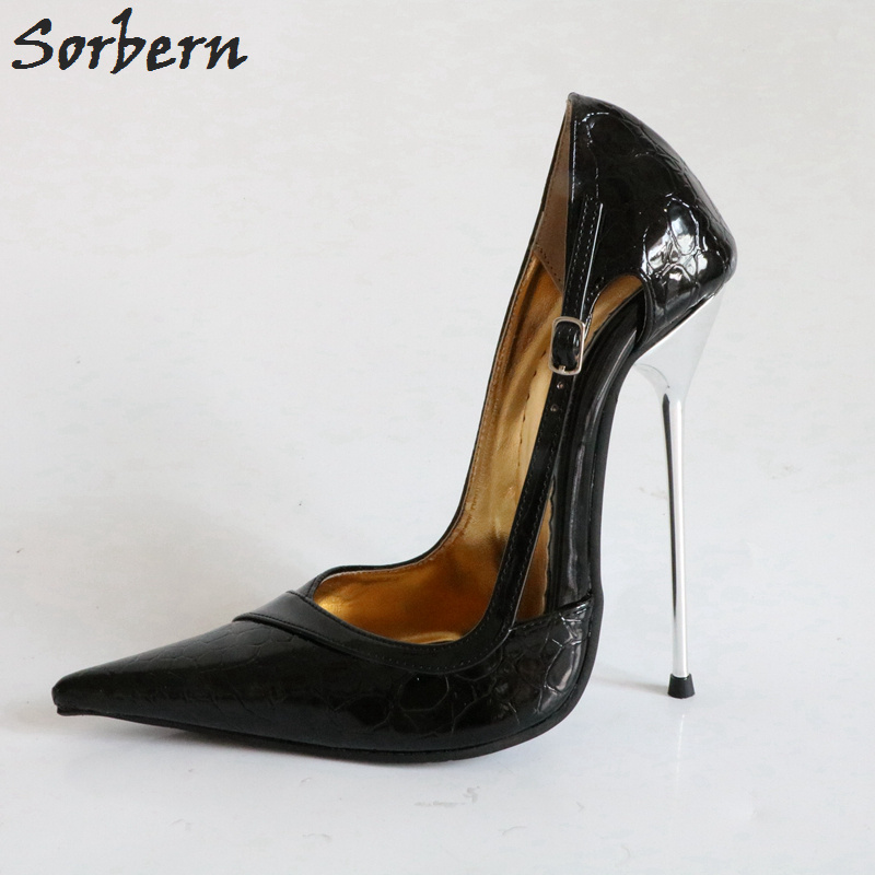 Sorbern Black 14Cm High Heels Shoes Pointed Toe Slip On Women Pumps Women Work Shoes 2018 Autumn Women Fashion Shoes Stilettos sorbern real photo colored glitter sequins women pumps slip on rivets ladies shoes women high heels stilettos pumps eu34 46