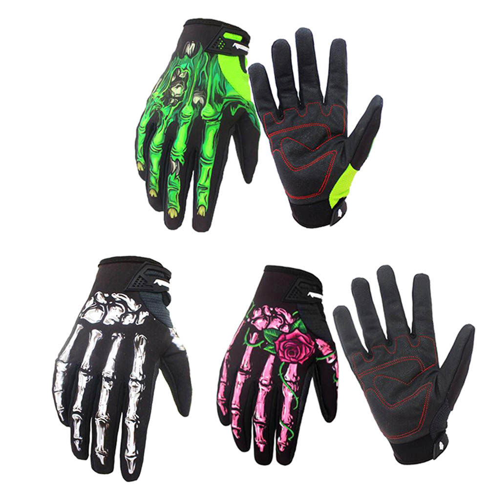 3 Color Gloves Full Finger 1 Pair Knight Flower Skeleton Printed Hand Gloves 3d Ghost Skeleton Skull Bone Gloves