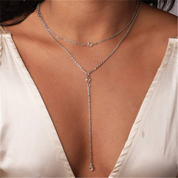 Fashion Necklace chain for women Women Multilayer Alloy Pendant Necklace Chain Jewelry collares mujer Collier ras de cou A15#N image