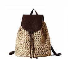 Mochila feminina de palha, mochila feminina feita em palha com cordão, para praia, verão, popular, para viagem bp3002