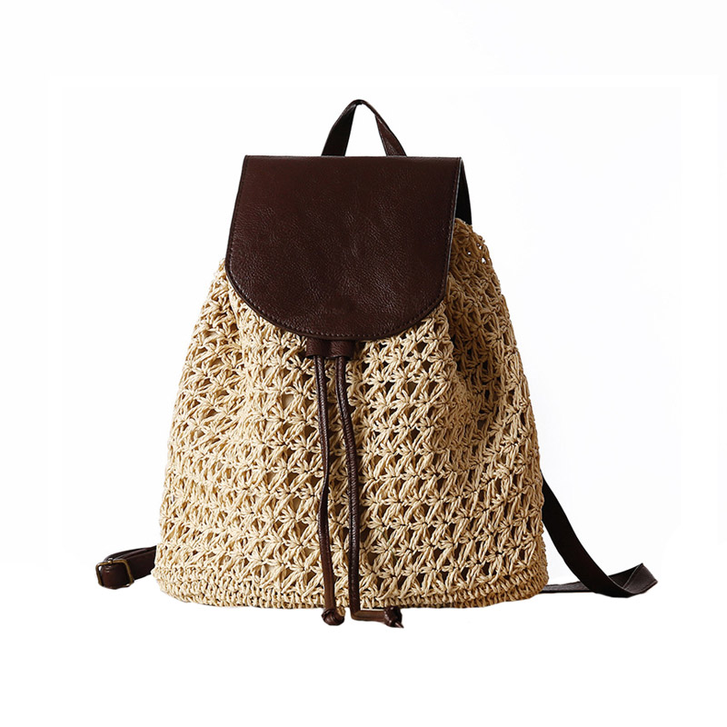 Women Backpack Drawstring Female Fashion Straw Bag Summer Beach INS Popular Lady Weave Back Pack Bag Large Travel Mochila BP3002