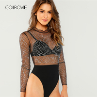 COLROVIE Black Sheer Frill Semi Girl Sexy Bodysuit Women 2018 Autumn Office Long Sleeve Night Out Female Skinny Basic Bodysuits