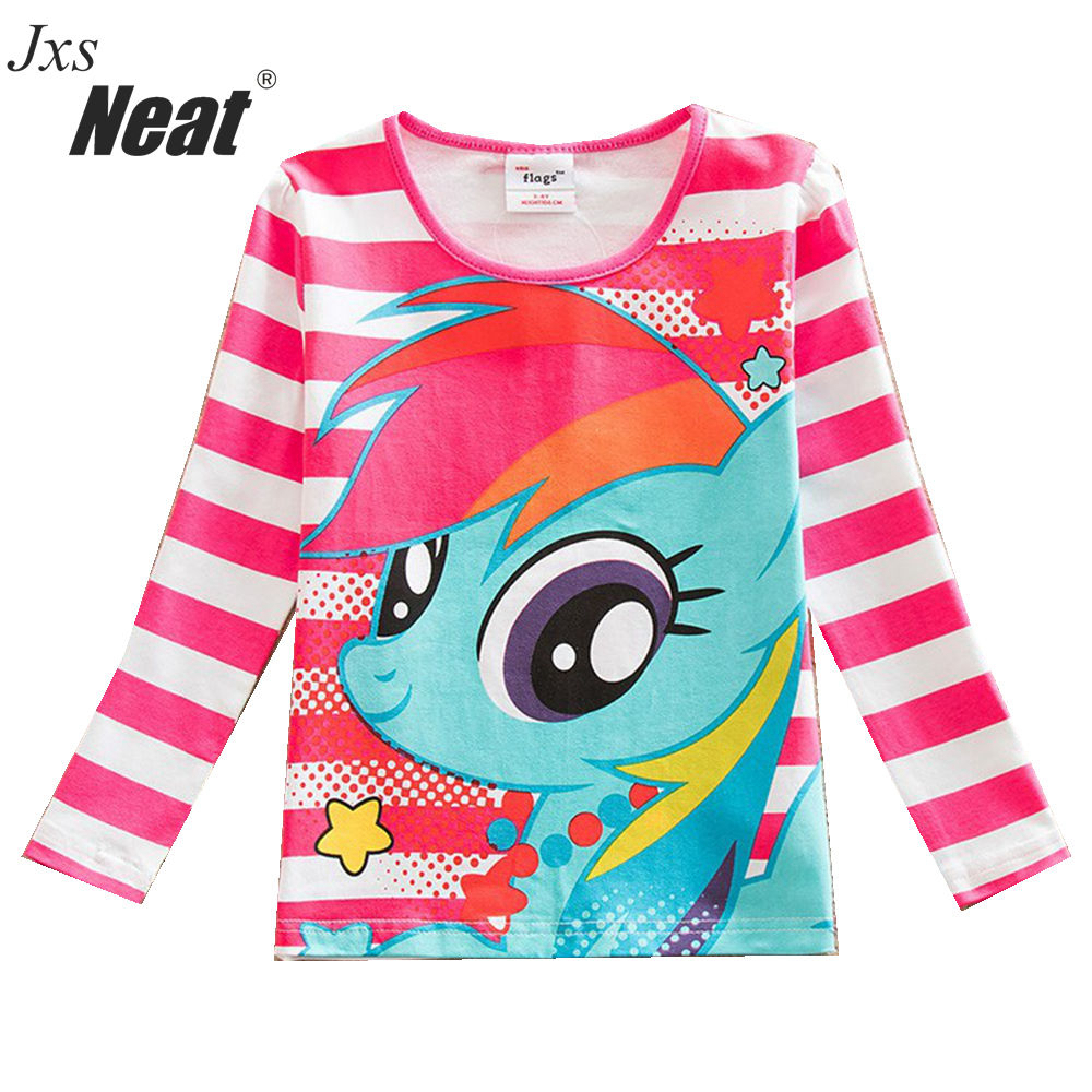 все цены на NEAT Cute kids long sleeves blouses pop cartoon sapphire blue red stripes fashion style everyday party kids T-shirts PD1120