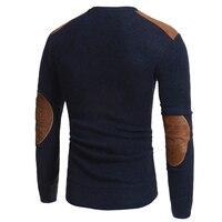 Мужской зимний теплый вязаный свитер Повседневный пуловер круглый вырез длинный рукав тонкий Топ
