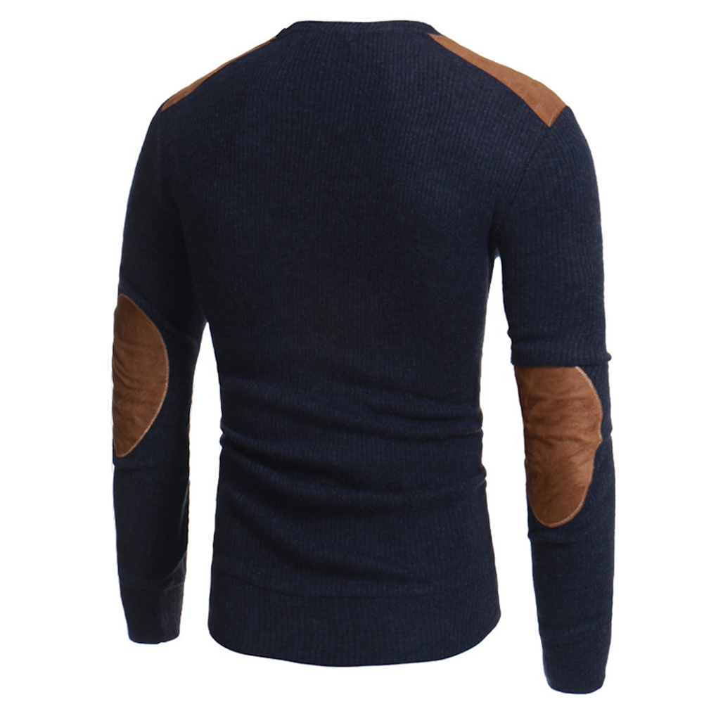 Men Winter Warm Knitted Sweater Casual Pullover Round Neck Long Sleeve Slim Top image