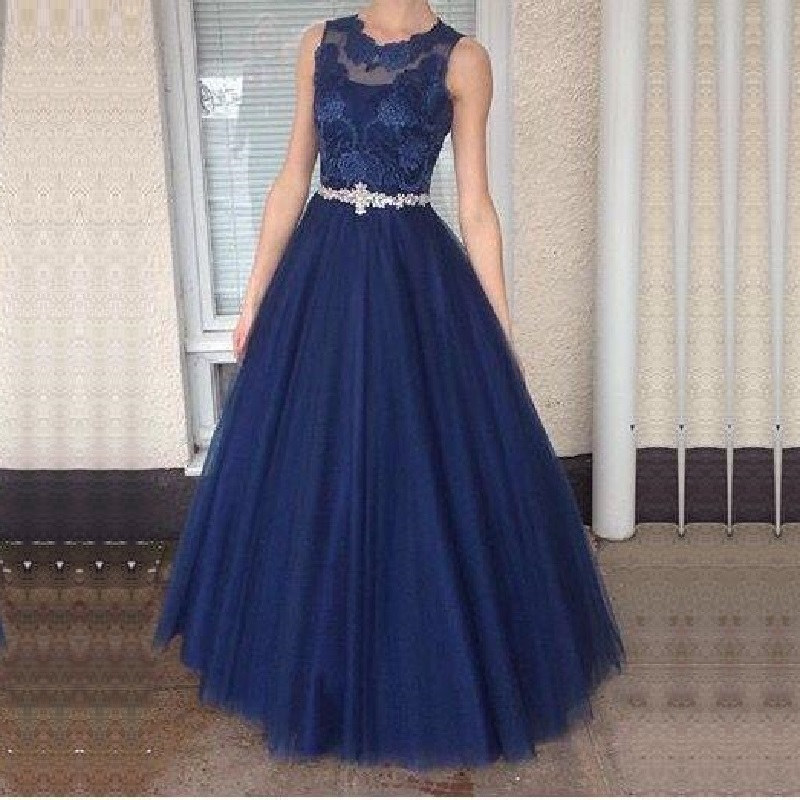 Long   Prom     Dresses   2019 A-line Tulle Vestidos Largos de Fiesta Lace with Crystal Belt   Dress   for Formal Party