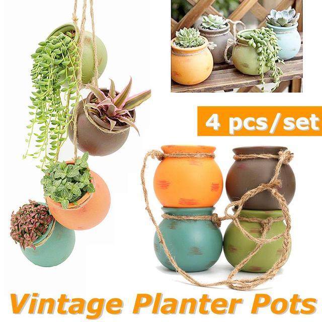 Vintage Ceramic Flower Pots Planter Outdoor Terra Cotta Hanging Baskets Vase Succulent Cactus Bonsai Indoor
