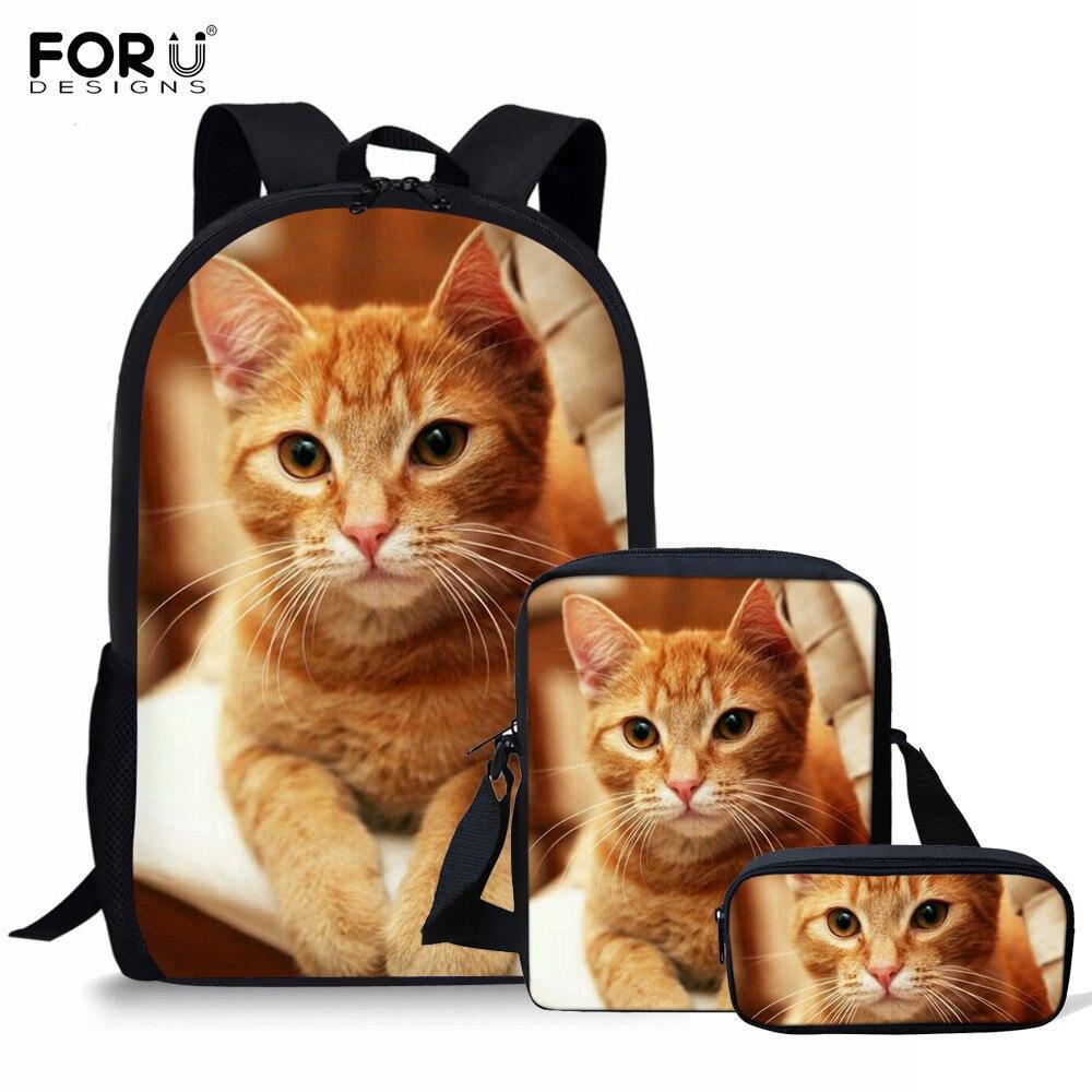 FORUDESIGNS 3Pcs/Set School Backpack Women Cats Ginger Printing For Teenager Girls Student Orthopedics Rucksack Bookbag Mochilas